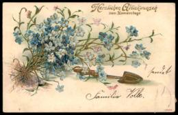 ALTE PRÄGE POSTKARTE HERZLICHEN GLÜCKWUNSCH ZUM NAMENSTAGE VERGOLDET Blume Blumen Fleurs Flower Ansichtskarte Postcard - Giftige Pflanzen