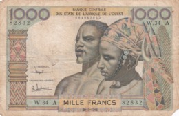 BILLET 1000 FRANCS CFA COTE D IVOIRE PICK 103 A VOIR SCAN - West African States