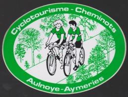 Autocollant Ancien Cyclotourisme Cheminots Aulnoye Aymeries  13 X 10 Cm - Pegatinas
