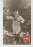 ENFANTS - Lot De 2 Jolies Cartes Fantaisie Portrait Petit Garçon Et Fleurs - Portraits