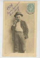 ENFANTS - Jolie Carte Fantaisie Portrait Petit Garçon Fumant Un Cigare De Bonne Année 1904 - Portraits