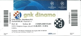 Ticket Football Mach - GNK Dinamo ( Croatia ) Vs Rosenborg B.K.( Norway ).UEFA Champions League 2019 - Biglietti D'ingresso