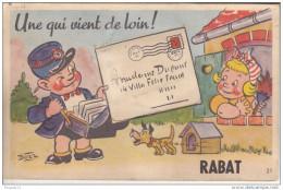 Au Plus Rapide Carte à Système Rabat Chien Facteur - Rabat
