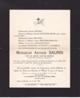 SOLRE-SUR-SAMBRE Arthur BAURIN Veuf Blanche MANTEAU Secrétaire Communal Honoraire 1878-1956 - Obituary Notices
