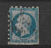 FRANCE  NAPOLEON III  N° 14B  PIQUAGE  ?   SUSSE ?  CLAIR VISIBLE SUR RECTO EN HAUT DU TIMBRE - 1853-1860 Napoléon III