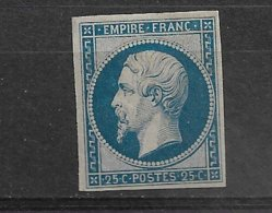 FRANCE  NAPOLEON III  N° 15  NEUF    REIMPRESSION NOTE AU VERSO AU CRAYON   PETIT CLAIR VISIBLE SUR SCAN VERSO - 1853-1860 Napoléon III