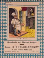 """B D G/ Protège-cahiers Illustrés >Boucherie Du Marché Lenoir """"C Duclos Grenet"""" ( La Mère Michel)  (N= 4) - Book Covers"""