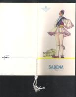 SABENA RECLAMEFOLDER   SABENA - CLUB DES GASTRONOMES - MENU'S  BRUXELLES - STANLEYVILLE (3 Scans)  (OD 379) - Publicités