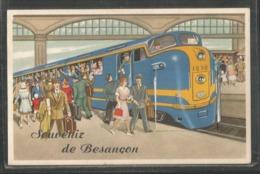 25 - Besançon - Carte A Systeme : Souvenir De ... - Train En Gare - Besancon