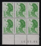 FRANCE  Coin Daté **  Type Liberté De Gandon A (1.90) Vert  Yvert 2423;  16.05.86   Neuf Sans Charnière; - 1980-1989