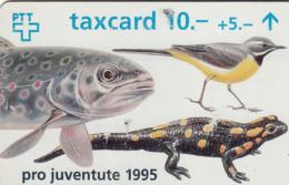 SWITZERLAND - Pro Juventute 1995 (Fish,Bird,Lizard) ,08/95 ,CN:508A , Tirage 100.000, 10 Fr, Used - Zwitserland