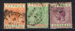 """CIPRO - 1912 - EFFIGIE DI RE GIORGIO V - FILIGRANA """"CA MULTIPLA"""" - USATI - Cyprus (...-1960)"""
