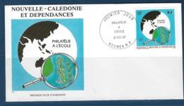 """Nle-Caledonie FDC YT 545 """" Philatélie à L'école """" Enveloppe 21.10.86 Nouméa - Briefe U. Dokumente"""