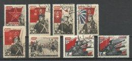RUSSLAND RUSSIA 1938 Michel 588 - 594 O + Michel 594 Thin Paper Type MNH - Usati