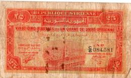 Republique Syrienne 25 Piastres 1942 A Circulé Plis - Siria
