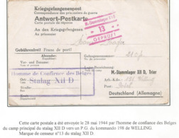 Kriegsgefangenenpost Prisonnier Guerre 1944 Homme De Confiance Du Stalag XII D TRIER Vers Kdo Welling,post POLCH - Guerra 40 – 45