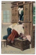 En Bretagne, Autour Du Lit Clos, Voisine Peu Commode, Panique Propice - Collection Villard Quimper - Personnages