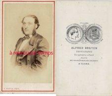 A Voir-CDV Vers 1870-beau Portrait D'homme-photo Alfred Breton à Tours-nom Au Dos - Old (before 1900)