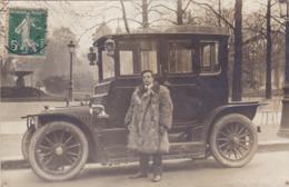 CARTE PHOTO AUTOMOBILE En 1907 - AUTO - Conducteur En Peau D'ours ^^ - Postkaarten