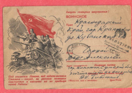 Lettre De Carte Postale Devant Staline Campagne De Propagande - Politicians & Soldiers