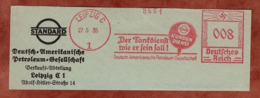 Ausschnitt, Absenderfreistempel, Deutsch-Amerikanische Petroleum-Gesellschaft, 8 Rpfg, Leipzig 1935 (80901) - Poststempel - Freistempel