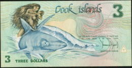 COOK ISLANDS 1987 3 Dollars UNC Shark Animals Fauna - Cookeilanden