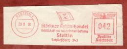 Ausschnitt, Absenderfreistempel, Kloeckner Kohlenhandel, 42 Rpfg, Stettin 1938 (80905) - Poststempel - Freistempel