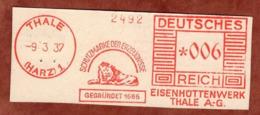 Ausschnitt, Absenderfreistempel, Loewe, Eisenhuettenwerk Thale, 6 Rpfg, 1937 (80906) - Poststempel - Freistempel
