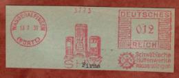 Ausschnitt, Absenderfreistempel, SHW Schwaebische Huettenwerke Wasseralfingen, 12 Rpfg, 1939 (80907) - Poststempel - Freistempel