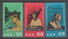 SERIE NEUVE D'ALLEMAGNE ORIENTALE - 90E ANNIVERSAIRE DU DOCTEUR ALBERT SCHWEITZER N° Y&T 783 A 785 - Albert Schweitzer