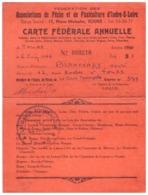 """FEDERATIONS DE PECHE ET DE PISCULTURE D'INDRE ET LOIRE-CARTE FEDERALE ANNUELLE 1966 N°000210 """"LA GAULE TOURANGELLE"""" - Mappe"""