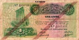 Liban ; Beyrouth 1er Septembre 1939 Une Livre - Libanon