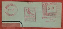 Ausschnitt, Absenderfreistempel, Taube, Franksche Eisenwerke Adolfshuette, 12 Rpfg, Niederscheid 1934 (80910) - Poststempel - Freistempel