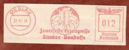 Ausschnitt, Absenderfreistempel, Annawerk, 12 Rpfg, Oeslau 1938 (80911) - Poststempel - Freistempel