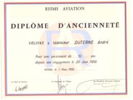 DIPLOME D'ANCIENNETE DELIVRE A MR DUTERNE ANDRE -REIMS 1968 - REIMS AVIATION - Documents