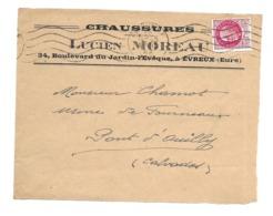 DOCUMENT Commercial ENVELOPPE 1942..Chaussures, Lucien MOREAU, Bd Du Jardin L'Evêque à EVREUX ( Eure 27)...Recto Seul - Frankrijk
