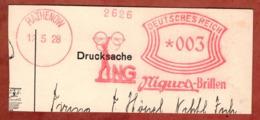 Ausschnitt, Absenderfreistempel, Nigura-Brillen, 3 Rpfg, Rathenow 1928 (80914) - Poststempel - Freistempel