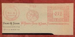 Ausschnitt, Absenderfreistempel, Hase, W Ernst Haas Neuhoffnungshuette, 12 Rpfg, Sinn 1936 (80915) - Deutschland