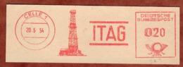 Ausschnitt, Absenderfreistempel, Bohrturm, ITAG, 20 Pfg, Celle 1954 (80917) - BRD