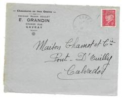 DOCUMENT Commercial ENVELOPPE 1941..Chaussures E. GRANDIN, Grande Rue à GAVRAY ( Manche 50)..Recto Seul - 1900 – 1949