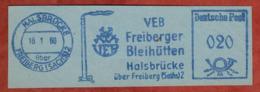 Ausschnitt, Absenderfreistempel, Freiberger Bleihuetten, 20 Pfg, Halsbruecke Ueber Freiberg 1960 (80920) - DDR