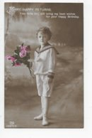 Young Boy In A Sailor Suit Holding A Bunch Of Roses - Portraits