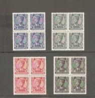 Kingdom Of Yugoslavia, Exile - King Petar, Complete Set  In Block Of Four, MNH - Yugoslavia