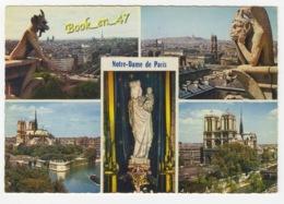 {76446} 75 Paris Notre Dame De Paris  Multivues ; Le Diable , Le Penseur , Statue De Notre Dame , Notre Dame Et La Seine - Notre Dame De Paris