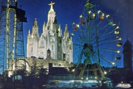 Barcelona - Tibidabo - Templo Expiatorio Del Sagredo Corazon - Vista Nocturna - Formato Grande Non Viaggiata – E 12 - Barcelona