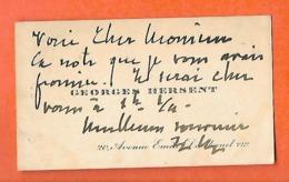 Carte De Visite  (8.5 X 5 Cm) / Georges HERSENT / Académie Marine / Ingénieur / Décès à AZAY LE FERRON 36 - Tarjetas De Visita