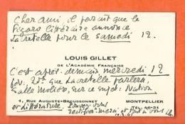 Carte De Visite  (10 X 6 Cm) / Louis GILLET / Académie Française PARIS, Historien D'Art - Tarjetas De Visita