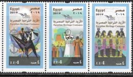 EGYPT, 2019, MNH, EUROMED, COSTUMES OF THE MEDITERRANEAN, ANCHORS,3v - Other