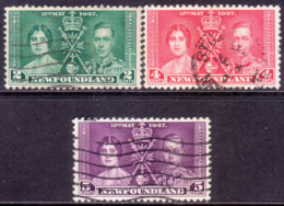 1937 NEWFOUNDLAND SG #254-56 Compl.set Used CV £10 Coronation(short) - 1908-1947