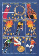 1996 1997 Eritrea Olympic Games Football Cycling Basketball Volleyball Miniature Sheet Of 9 MNH - Eritrea